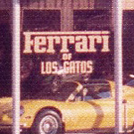 Ferrari of Los Gatos painted on glass window of original dealership