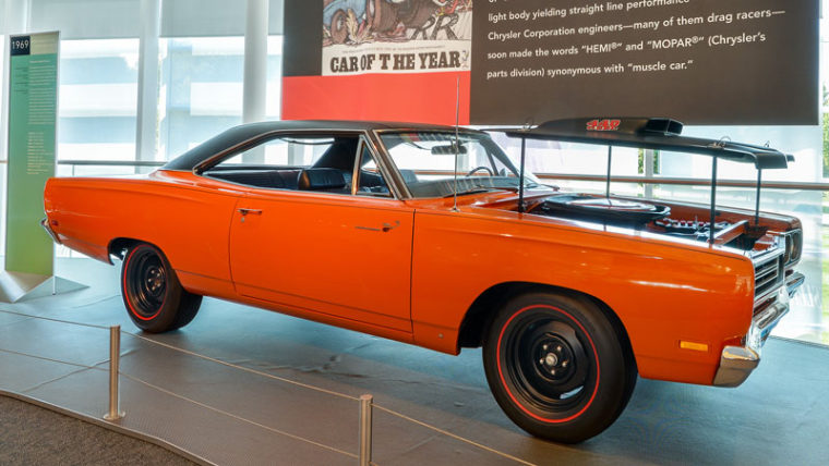 AUBURN HILLS, MI/USA - AUGUST 19, 2016: A 1969 Plymouth Road Runner car at the Walter P. Chrysler Museum.