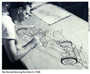 Rex Burnett drawing the Davis Devan in 1948
