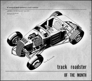 Al George & Ernie Pestana's Track Roadster published in Hot Rod Magazine June, 1949 - might be the first drawing Rex did for Hot Rod Magazine