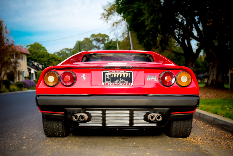 Rear view of Jim Ciardella's Ferrari 308 GTSi